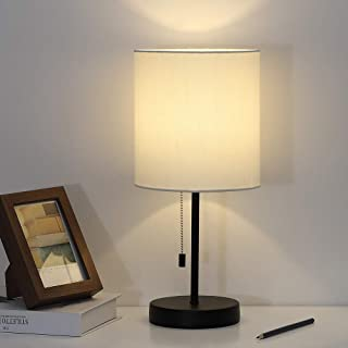 Nightstand Lamp, Contemporary Bedside Table Lamp, Desk Lamp with Fabric Shade for Living Room, Bedroom, Office, College Dorm,Coffee Table (White Contemporary Lamp)