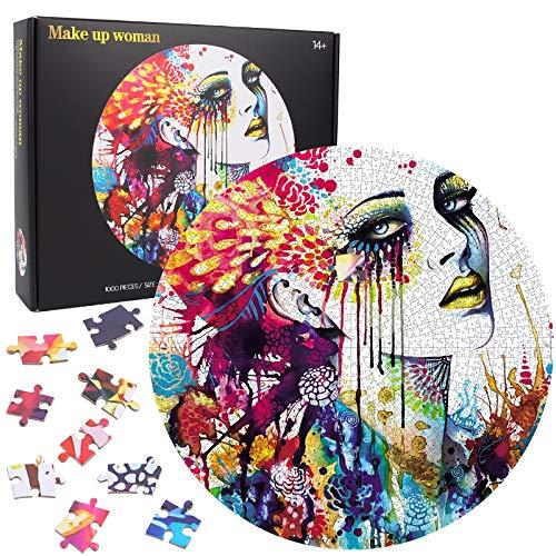 Puzzle Redondo 1000 Piezas, Puzzle Creativo, Rompecabezas Redondo, Rompecabezas Puzzle Grande Educativo Juego Divertido para Niños (Make up)