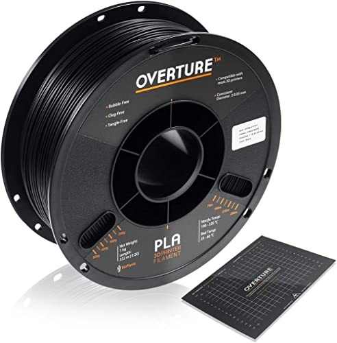 OVERTURE PLA Filament 1.75mm with 3D Build Surface 200mm x 200mm 3D Printer Consumables, 1kg Spool (2.2lbs), Dimensio...