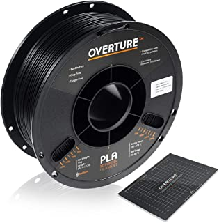 OVERTURE PLA Filament 1.75mm with 3D Build Surface 200mm × 200mm 3D Printer Consumables, 1kg Spool (2.2lbs), Dimensional Accuracy +/- 0.05 mm, Fit Most FDM Printer, Black
