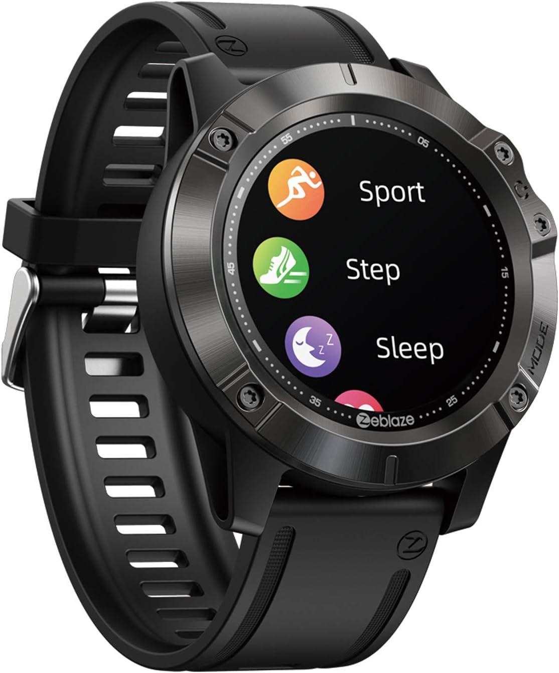 SUQIAOQIAO Zeblaze Vibe 6 Smart Watch Heart Rate Bluetooth Call, 1.3 Inch IPS Color Touch Screen Bracelet 300Mah Battery Multi Sport Mode Waterproof,Black