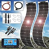 400Watt Solar Panel Kit 2X200W (41.7x10.6inch) Flexible Monocrystalline(HIGH Efficiency) Include Charge Controller(40A)and Cable for 16v Battery Charging Car Battery AGM RV Camper Van