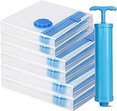 TECHVIDA Bolsas Vacio, Bolsas de Almacenamiento Selladas al Vacío, Premium Vacuum Storage Bags Paquete de 6 + Bomba manual...