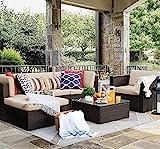 Flamaker 6 Pieces Patio Furniture Set Outdoor Sectional Sofa Outdoor Furniture Set Patio Sofa Set...