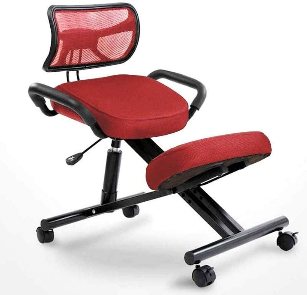 QSHG Chaise de bureau ergonomique orthopédique, tabouret haut réglable avec support dorsal avec poulie pour corriger la posture assise (couleur : bleu) Rouge