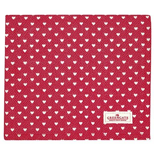 GreenGate - Tischdecke - Penny - Baumwolle - rot - Herzen - 130x170 cm