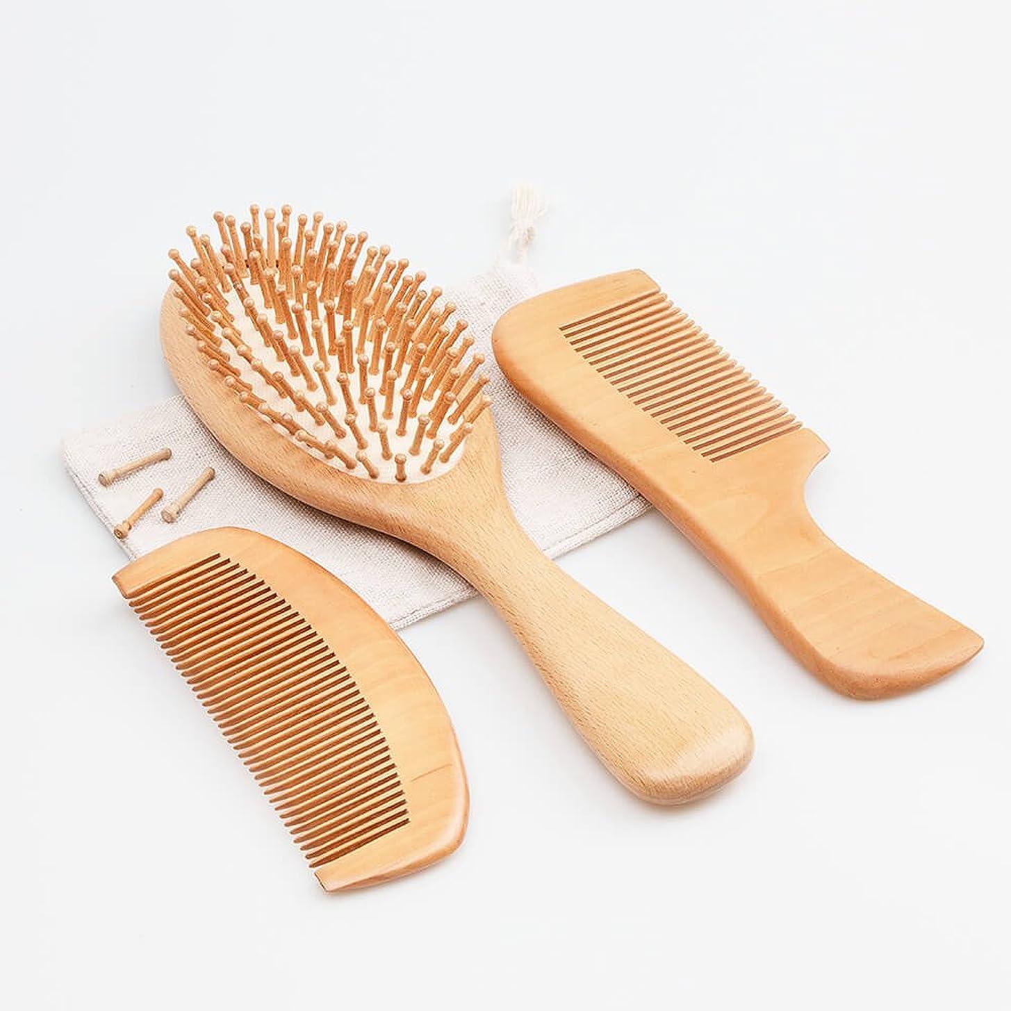 推進側面農夫ヘアブラシ くし 天然木製シリカゲルマッサージ クッション櫛セット ヘアケア頭皮マッサージ 薄毛改善 血行促進 髪艶