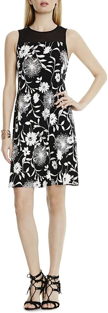 Vince Camuto Women's Short-Sleeve Dandelion Dress with Chiffon Yoke