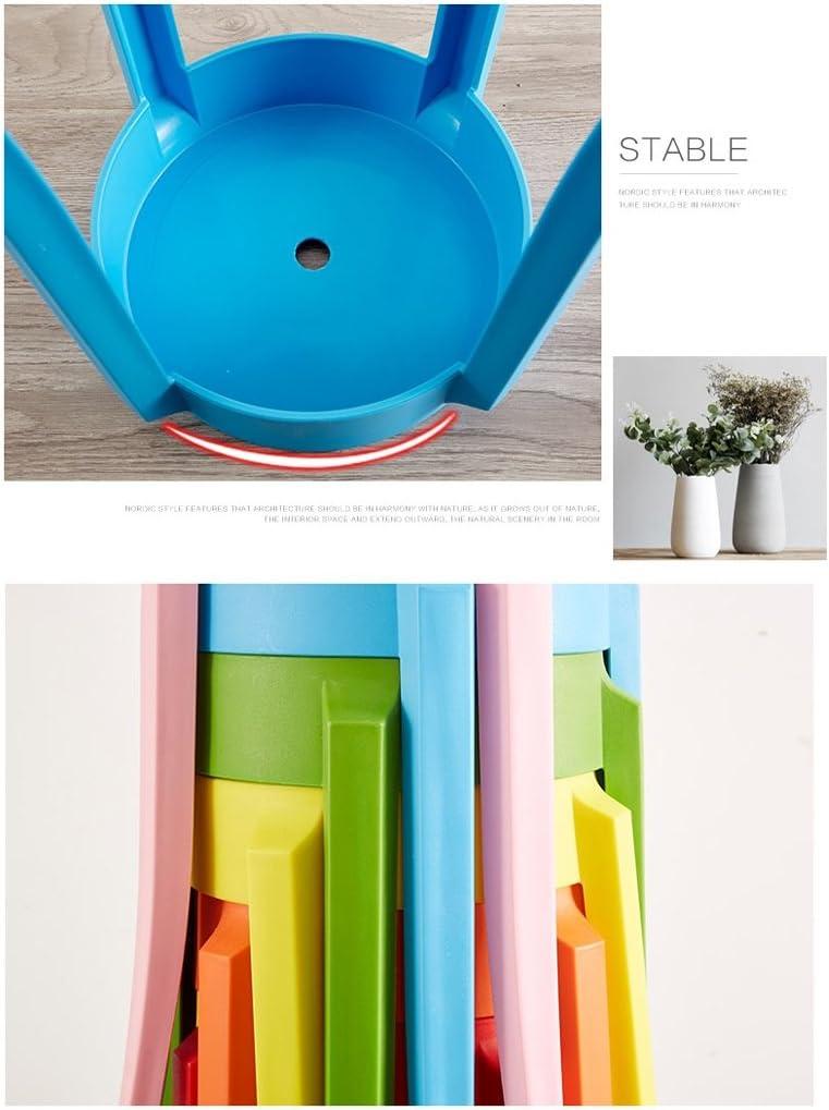 SLL- Tabouret rond maison mode créative chaise en plastique épaissie adulte salon banc Fauteuils et Chaises (Color : A) D
