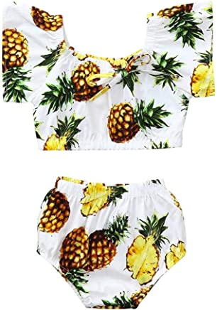 b20fcd1408 SUPERON 2Pcs Toddler Kids Baby Girls Pineapple Print Off Shoulder Tops+Shorts  Summer Outfits