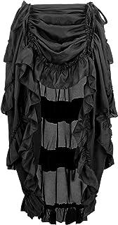 Charmian Women's Steampunk Gothic High Low Cyberpunk Skirt