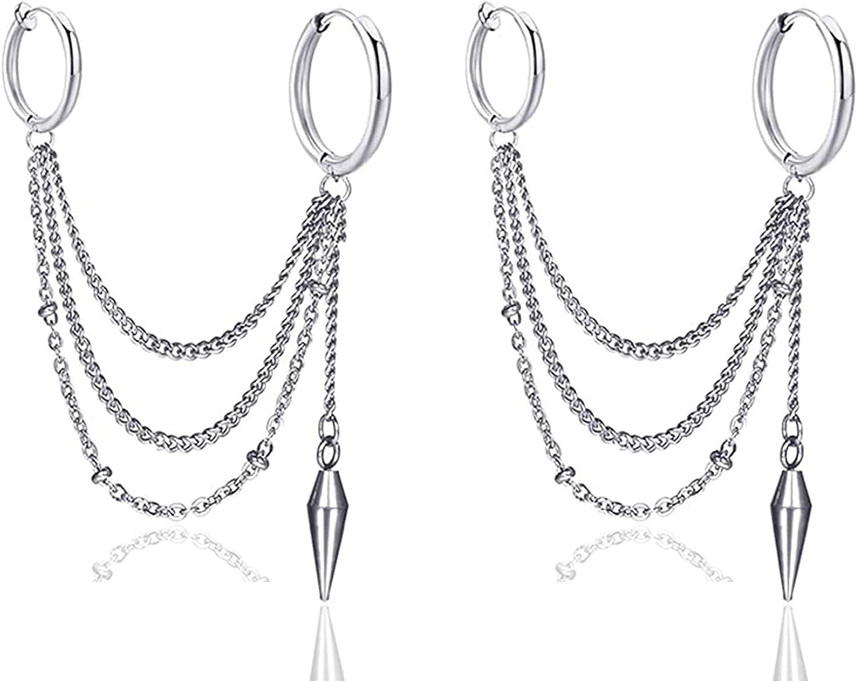 Fusamk Hip Hop Stainless Steel Tube Circle Clip On Hoop Earrings Tassel Chain Dangle Earrings,2PCS