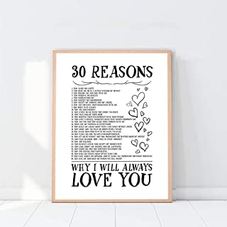 30 Reasons Why I Will Always Love You, Reasons I Love You Print 20 Reasons, 40 Reasons We Love You, Romantic Gifts For Him, Romantic Gifts For Her, Home Décor, Reasons I Love About- 8x10 - Unframed