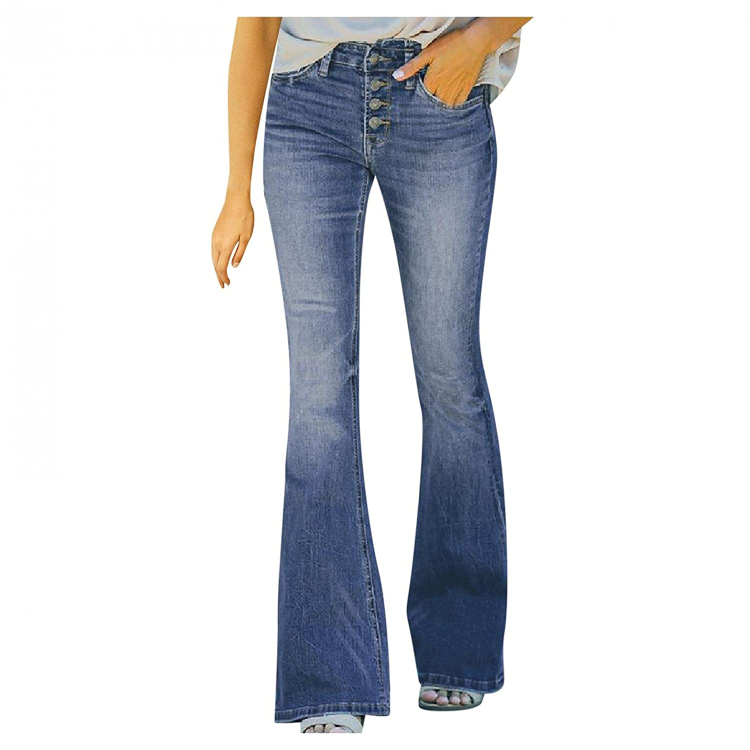 Padaleks High Waisted Jeans for Women, Women's Plus Size 4 Button Stretch Skinny Trousers Flare Hem Denim Pants