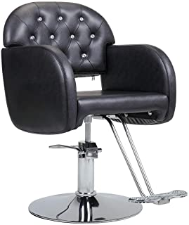360-Degree Swiveling Hydraulic Barber Chair Hair Beauty Salon Equipment with Crystal Tufted Backrest, Adjustable Height, B...