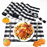 FARONZE Buffalo Plaid Placemats Woven Placemats Set of 6 for 2020 Thanksgiving Day Christmas for Dining Table (Black-White)