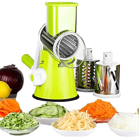 yueyang Mandolines Multifonctions à légumes Coupe-Légumes Manuel avec 3 Lames Cylindriques en Acier Ioxydable Râpe à Fromage Carotte (Vert)