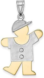 Lex & Lu 14k Two-Tone Gold AA Diamond Kid Pendant LALXK513AA