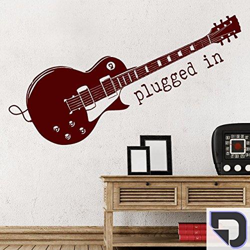 DESIGNSCAPE® Wandtattoo Gitarre Plugged in, E-Gitarre, Musik 120 x 67 cm (Breite x Höhe) dunkelgrau DW807158-M-F7