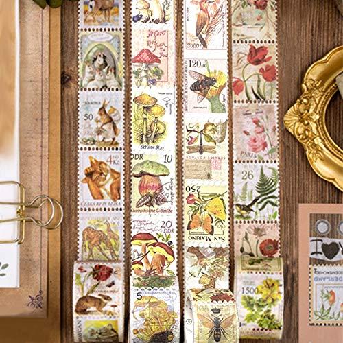 Vintage Aufkleber,240PCS Stempel Scrapbooking,DIY Sticker Dekoration,Vintage Muster Papier,Scrapbooking Muster,Umschlagaufkleber benutzt für Einladungskarten,Grußkarten, Tagebuch,Fotodekoration (B)