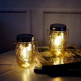 MJ PREMIER Mason Jar Lights Hanging Lights Outdoor Tabletop Laterns Hanging Lanterns Battery Operated Mason Jar Decor Table Light for Indoor Outdoor Decoration, Set of 2 Father's Day Gift