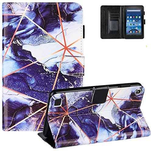 Marble Case for Kindle Fire 7 Inch Tablet(9th/7th/5th Gen, 2019/2017/2015), UGOcase PU Leather Fold Protective Case Auto Sleep Wake Wallet Cover for Amazon Kindle Fire 7' 2019 2017 2015 - Darkblue