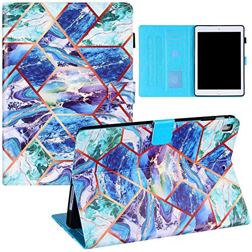 ZOOMALL Folio Case for iPad 9.7 2018/2017/Pro 9.7/iPad Air 2/Air 1,iPad 5th/6th Generation, Vegan Leather Stand with Pencil Holder Auto Wake/Sleepp, Grid Marble Blue/Green
