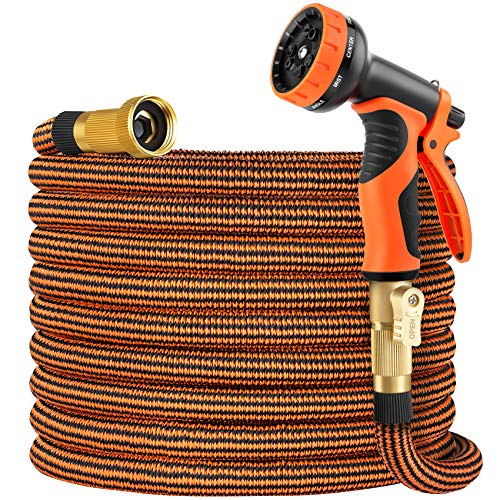 OUTZEST 50ft Expandable Garden Hose, Leakproof Lightweight Water Hose with 9 Functions Sprayer and...
