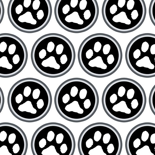 Premium Gift Wrap Wrapping Paper Roll Paw Print - Pet Dog Cat B&W