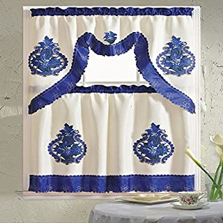 B&H Home Majestic Floral Embroidered 3-Piece Kitchen Curtain Window Treatment Set (Majestic Blue)