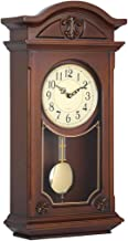 Fengfeng Antique Wall Clocks, Silent Pendulum Hanging Clocks Wooden Finish Quartz Clocks with Westminster Chime Mechanical Living Room Wall Watches Gift (61cm)