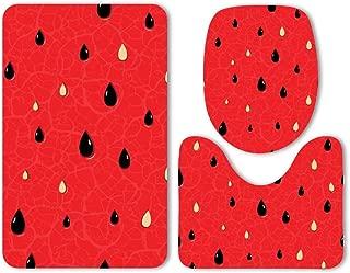 Mat Set 3-Piece Soft Bath Watermelon Texture Ripe Seeds Fruit Shinebath Mat Non Slip Western Bathroom Decor Cool Bath Mat Boho Rug Microfiber