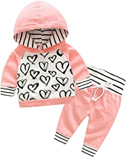 Weixinbuy Toddler Baby Girl Heart Pattern Long Sleeve Shirt + Pants Clothes Set