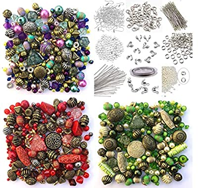 Approx X 1500 Jewelry Making Beads Mix Starter Kit for Beginners in Purple, Red & Green & Jewelry Findings