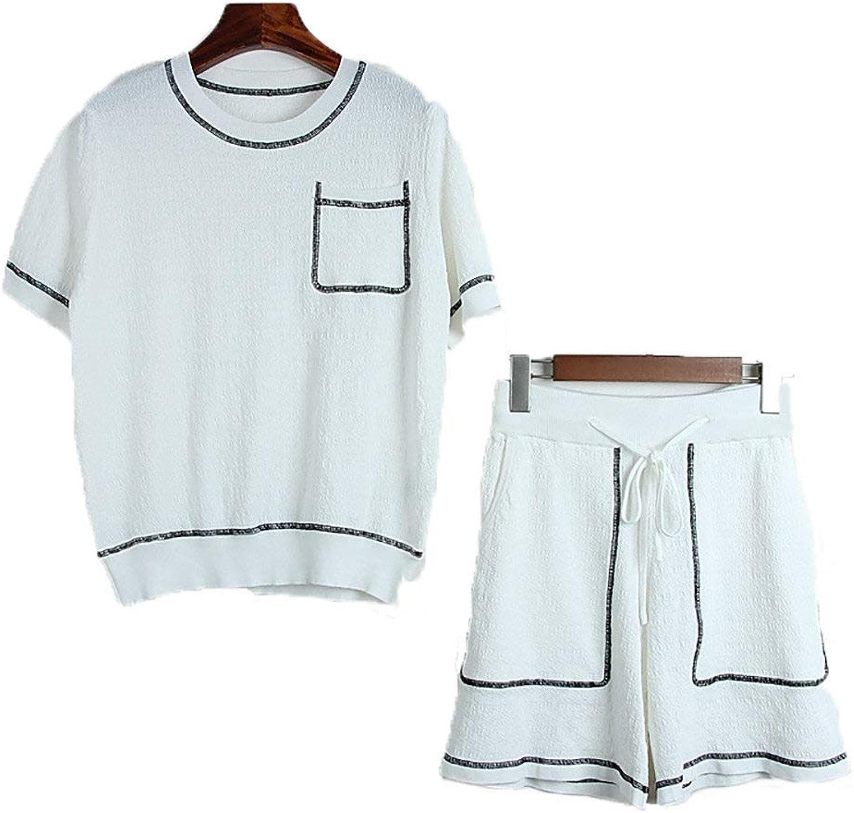 2 Pieces ShortSleeved Shirt Lacing Shorts,Women TShirt Set Tops and Shorts Casual Wear,SinglePocket Design,Multicolor Optional,WhiteL