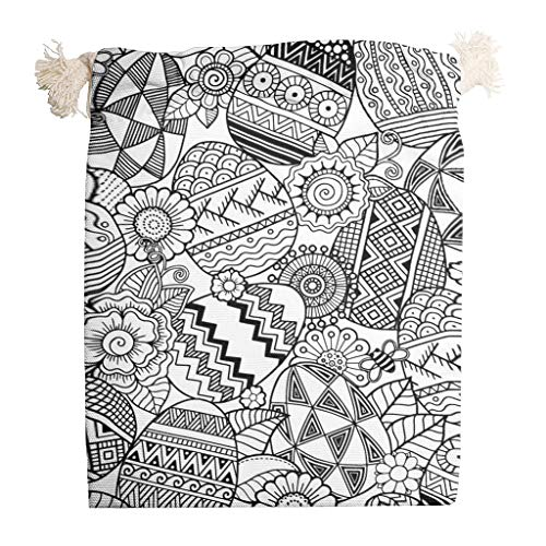 Amazing Deal cnejduwud Black and White Easter Eggs Set of 6 Portable Santa Canvas Bag with Drawstrin...