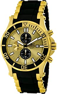 Men's 1478 Sea Spider Chronograph Gold Dial Black Polyurethane Watch