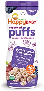 Happy Baby Organic Superfood Puffs Purple Carrot & Blueberry, 2.1 Ounce Canister (Pack of 6) (Packaging May Vary)