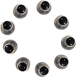 5 Black Studs with Silver Trimming for Tuxedo Shirt by