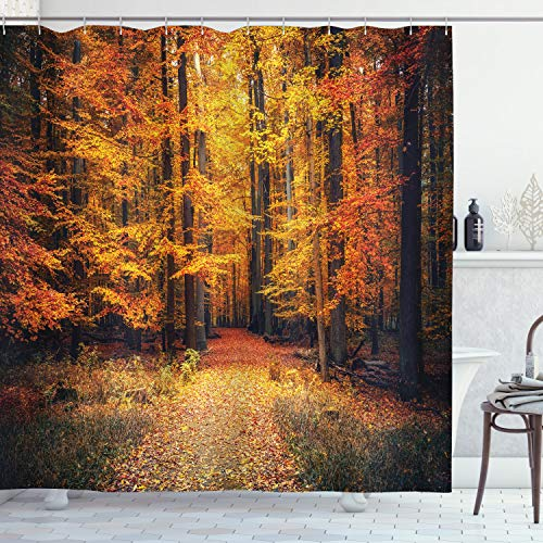 """Ambesonne Forest Shower Curtain, Fall Photo in National Park Vivid Leaf Plant Eco Earth Mystical Theme, Cloth Fabric Bathroom Decor Set with Hooks, 70"""" Long, Orange Brown"""