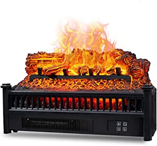 Eternal Flame Electric Fireplace Logs Heater, Electric Fireplace Insert Log Quartz Realistic Ember Bed Fan Heater with Inf...