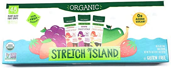 Organic Stretch Island Tropical Strawberry Grape Fruit Strips Variety Pack, 48 Total Count, 16 pouches of each of the 3 flavors,0g Added Sugar
