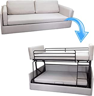 Platinum Furniture - Sofá cama de tela beige transformable en litera con dos camas individuales