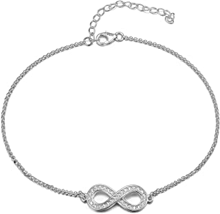 Gorgeous Elegant Infinity / Bow Anklet With Diamantes, Sterling Silver Ankle Bracelet