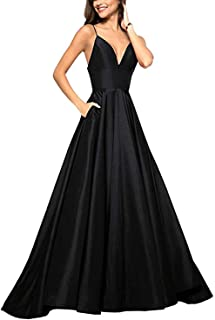 RrBoy Women's Spaghetti Strap V Neck Prom Dress Long A-line Evening Ball Gown W/ Pockets