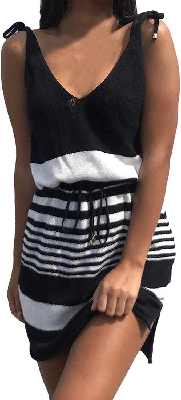 ESULOMP Women Dress Summer Short Sleeve V Neck Mini Dresses with Belt Stripe Splicing Sling Strap Dress