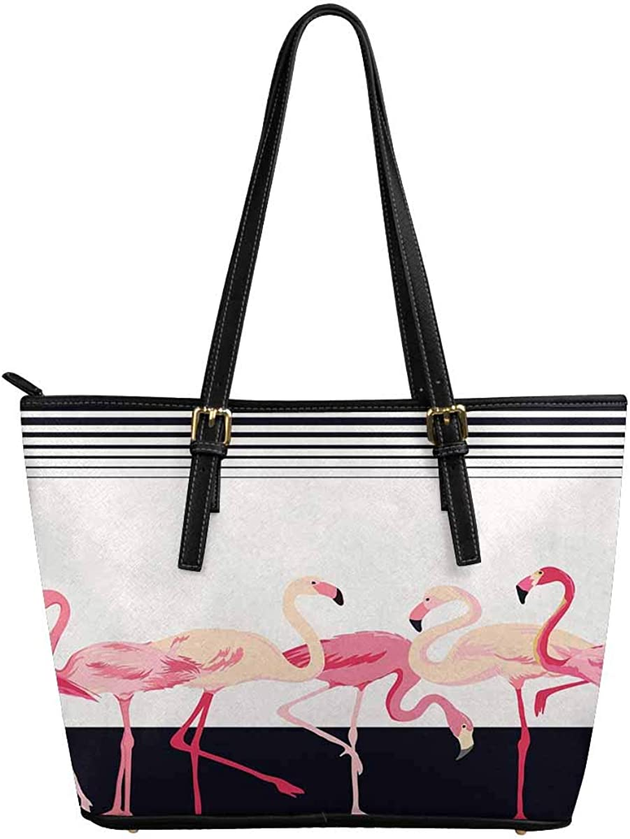 InterestPrint Women Totes Top Handle HandBags PU Leather Purse Shabby Chic Pink Flamingo Birds with Stripes Lines