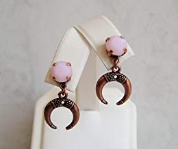 Rose Pink Alabaster Round Made with Swarovski Crystal Hypoallergenic Antique Copper Ox Horn Simple Drop Dangle Ear Stud Post Earrings Gift Idea