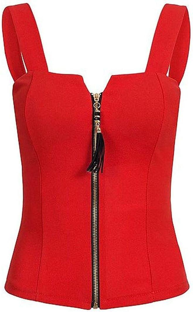 Misaky Sexy Summer Women's Sleeveless Camisole Tank Zipper Summer Shirt Top
