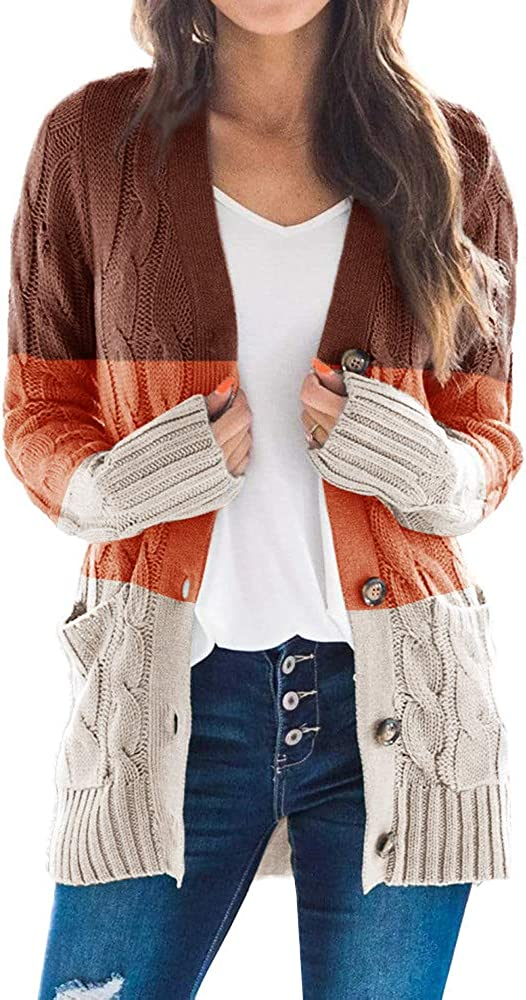Yskkt Womens Long Sleeve Button Down Cardigan Sweaters Plus Size Open Front Chunky Cable Knit Loose Outwear with Pockets